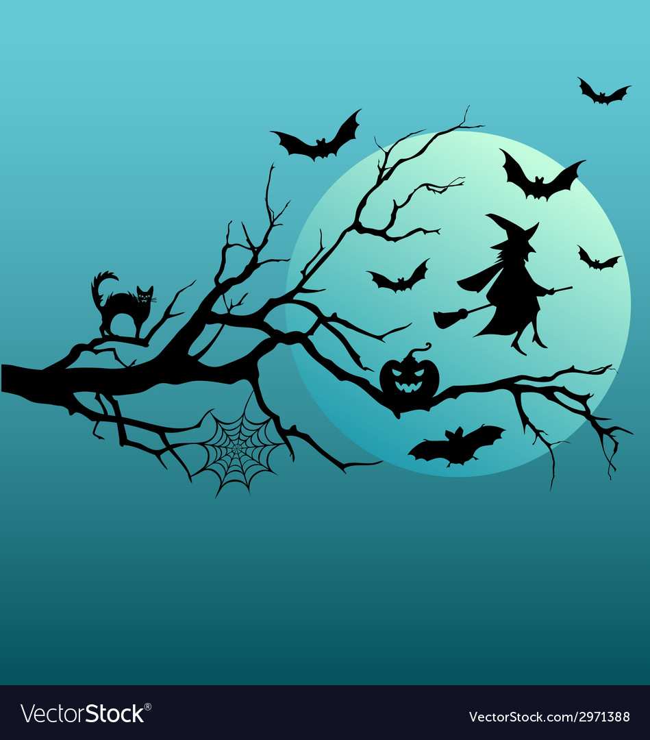 Halloween witch and flying bats vector