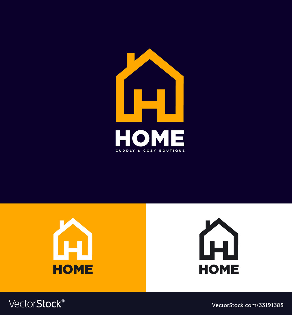 Logo home h letter house symbol vector