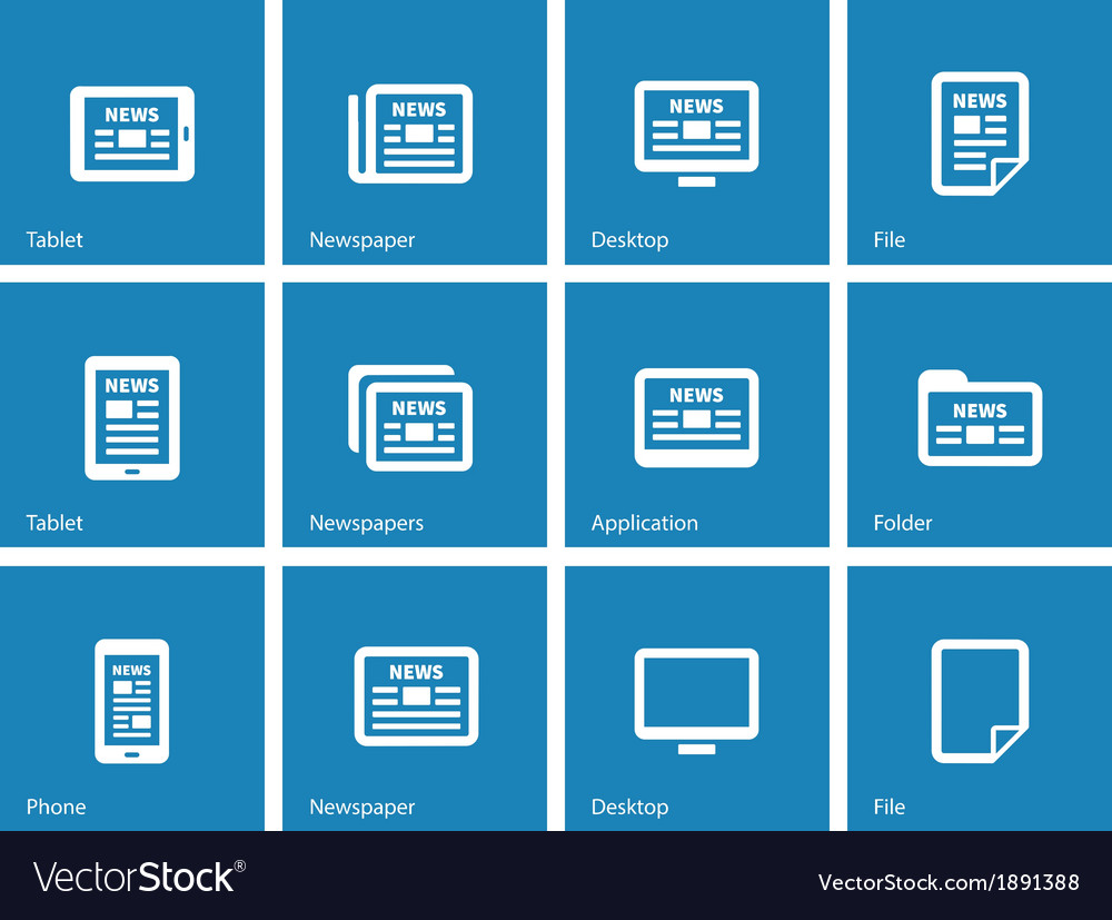 Newspaper icons on blue background
