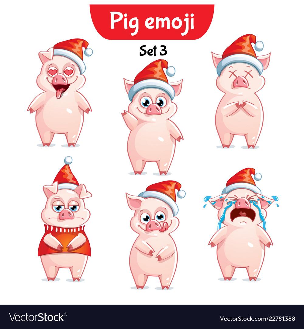 set of christmas pig characters set 3 royalty free vector