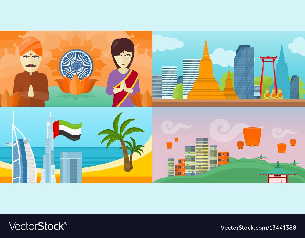 Set of touristic concept in flat design