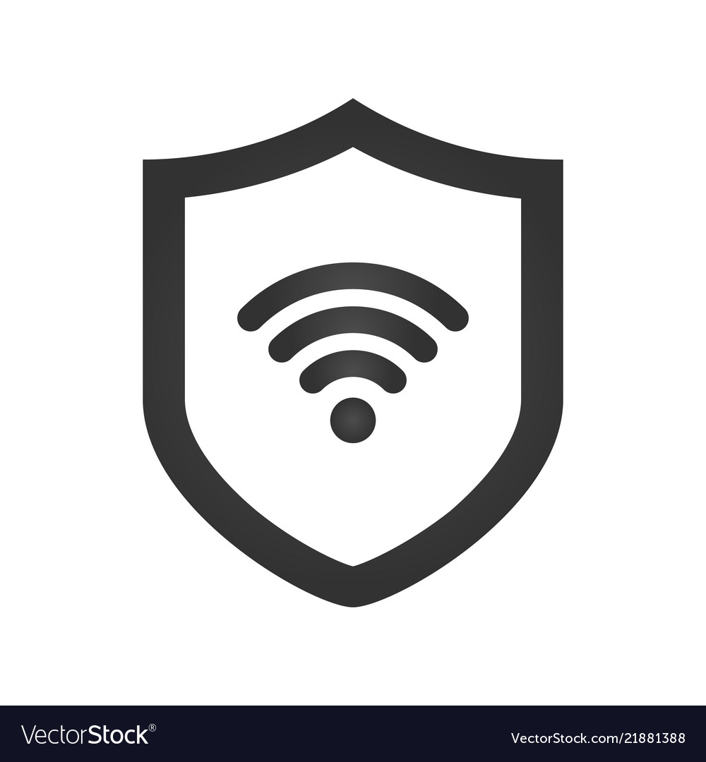 Shield icon wifi sign protectoin sign flat