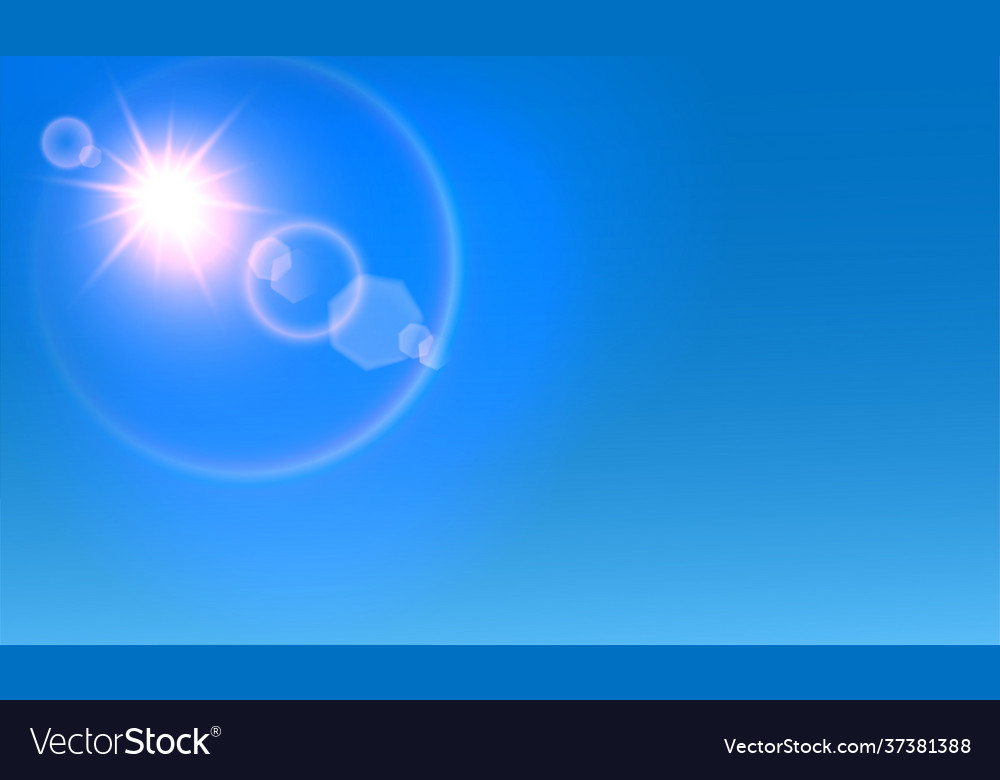 Shining white and red sun with flare effect