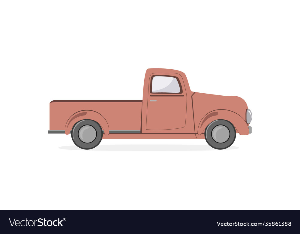 Silhouette old farmer retro pickup truck isolated