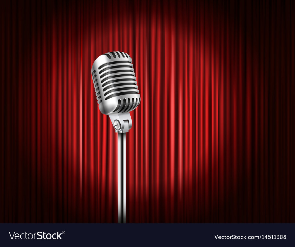 Stage curtains with shining microphone standup