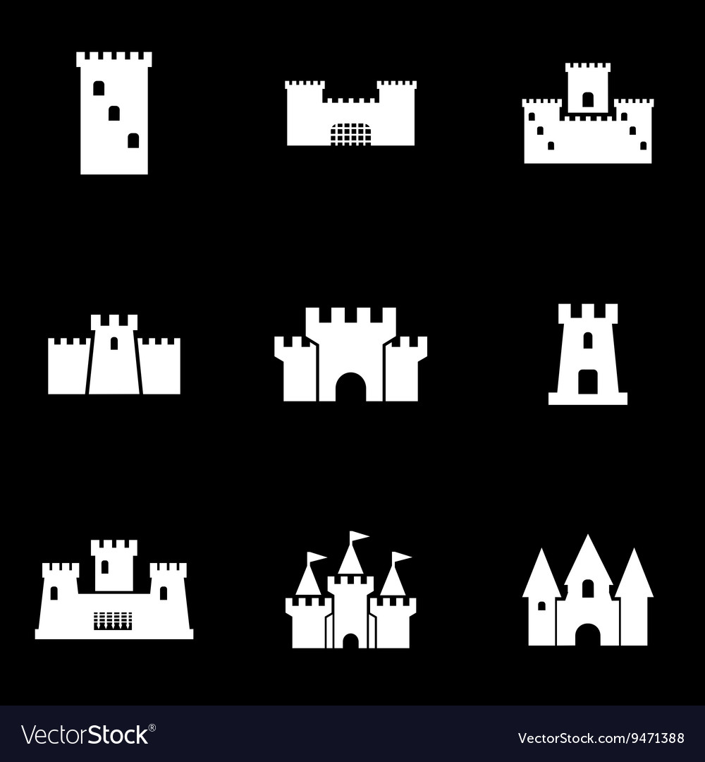 White castle icon set