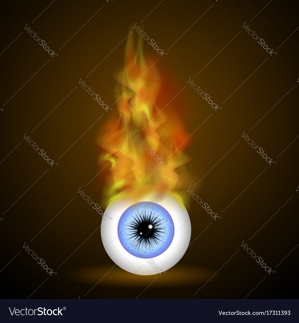 Burning Blue Eye With Fire Flame Royalty Free Vector Image