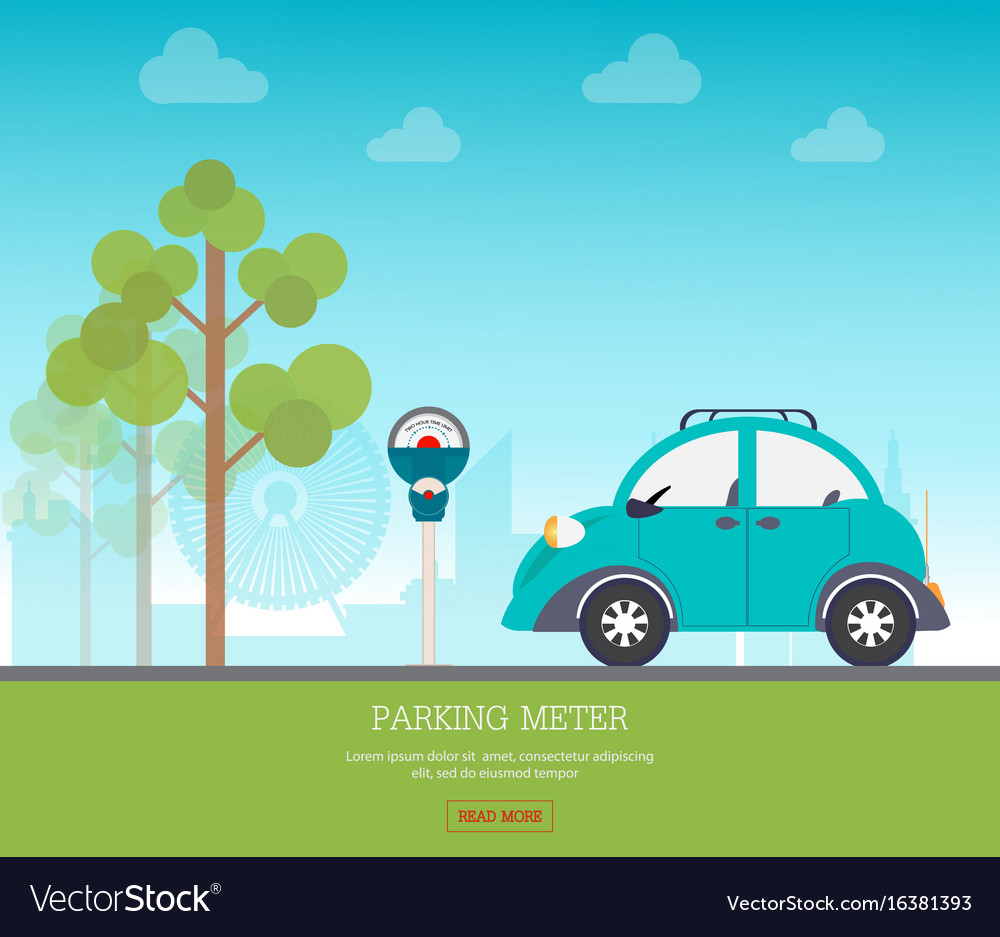 Car park with parking meter on city view vector image