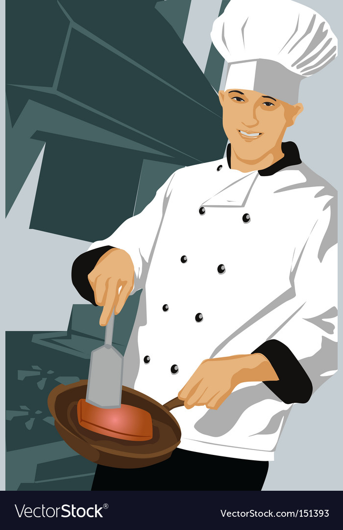 Chef with pan vector image