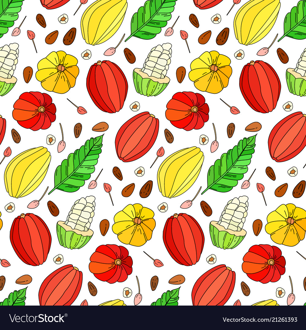 Cocoa fruit doodle seamless pattern