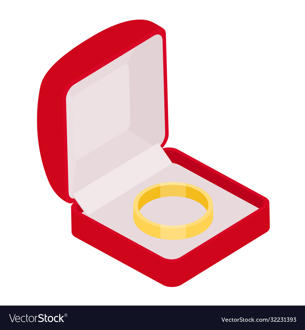 Engagement ring in red box on white background
