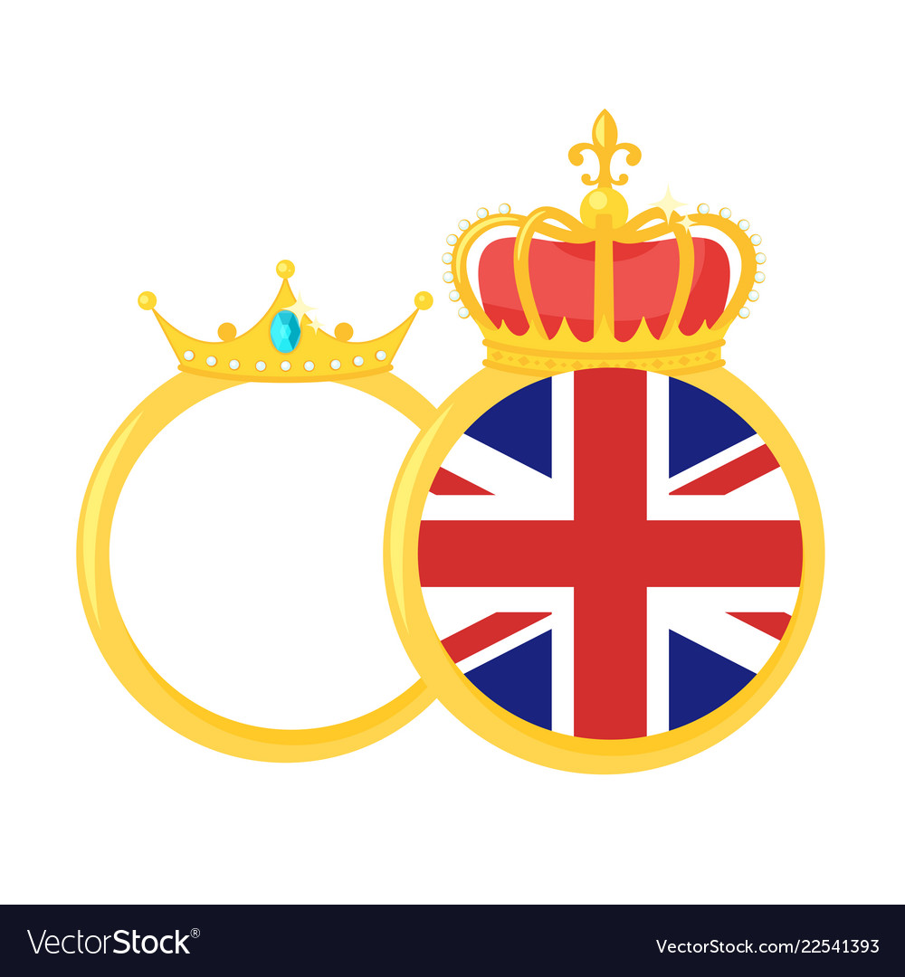 Golden rings with royal crown