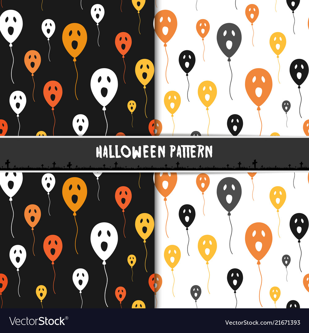 Halloween seamless pattern with cute ghost