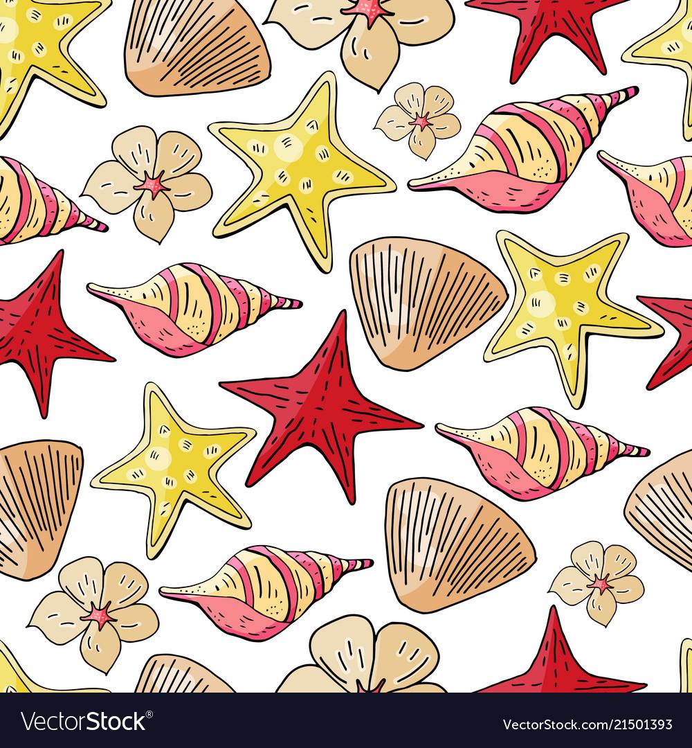 Hand drawn seashells and starfish