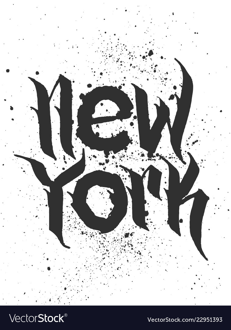 Hand lettered textured new york t shirt apparel