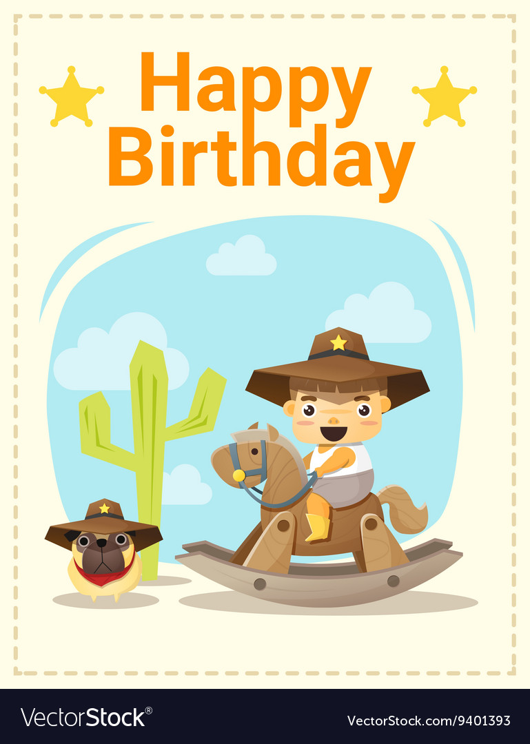 Happy birthday card with little boy and friend 4
