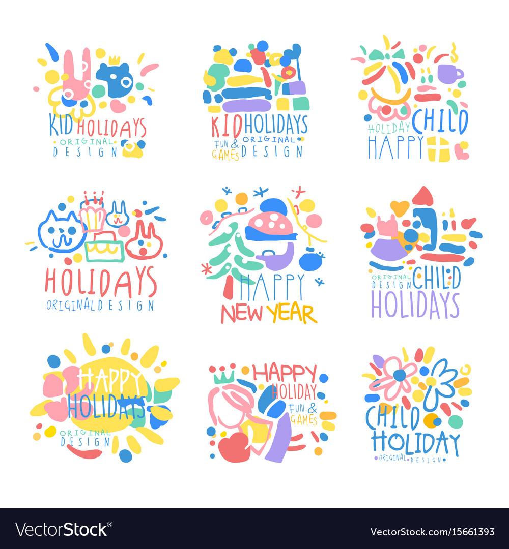Happy kid holiday happy new year logo template