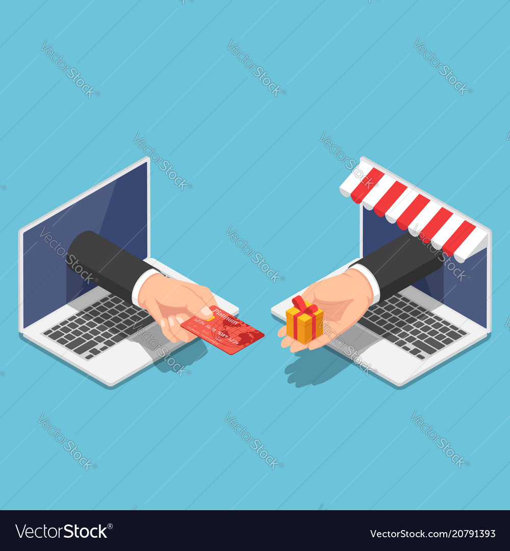 Isometric businessman hand use credit card to