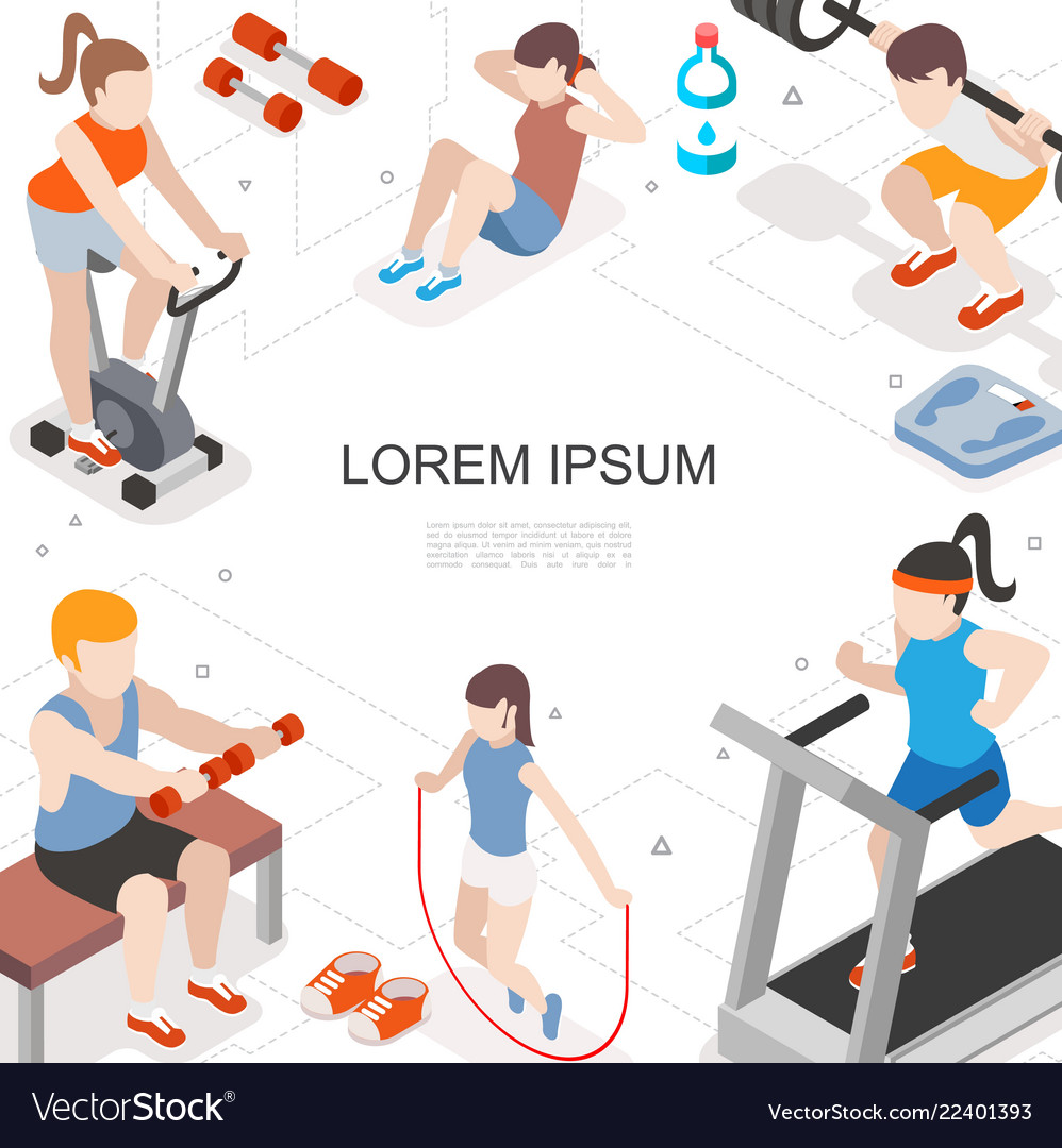 Isometric fitness colorful concept