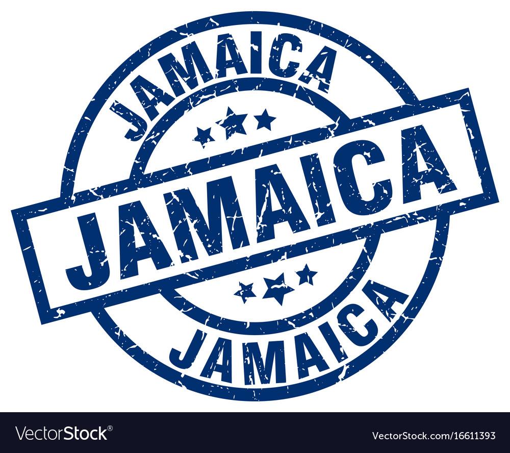 Jamaica blue round grunge stamp vector image