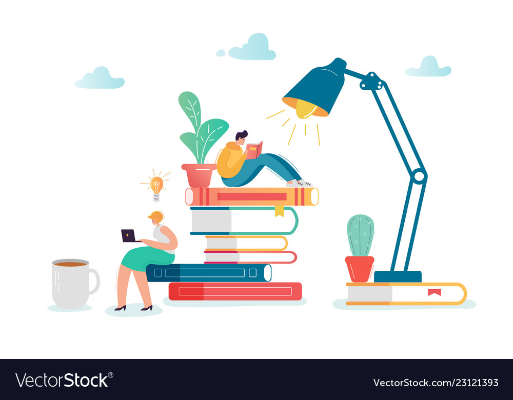 Man and woman characters reading books