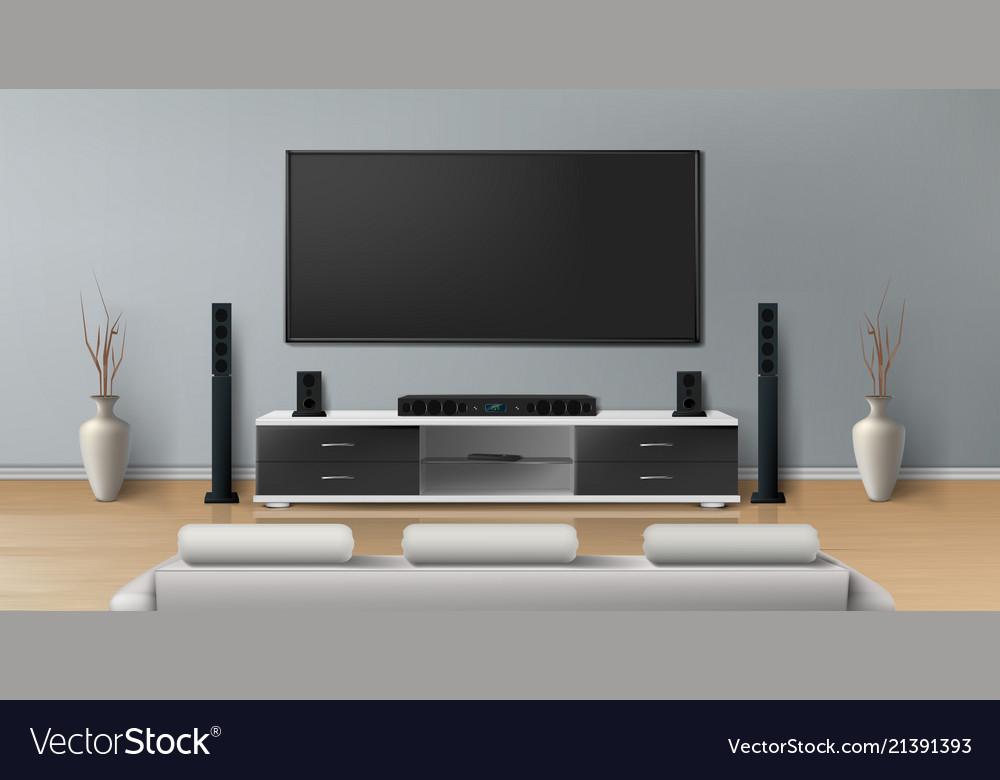Mockup Of Room With Home Theater System Royalty Free Vector