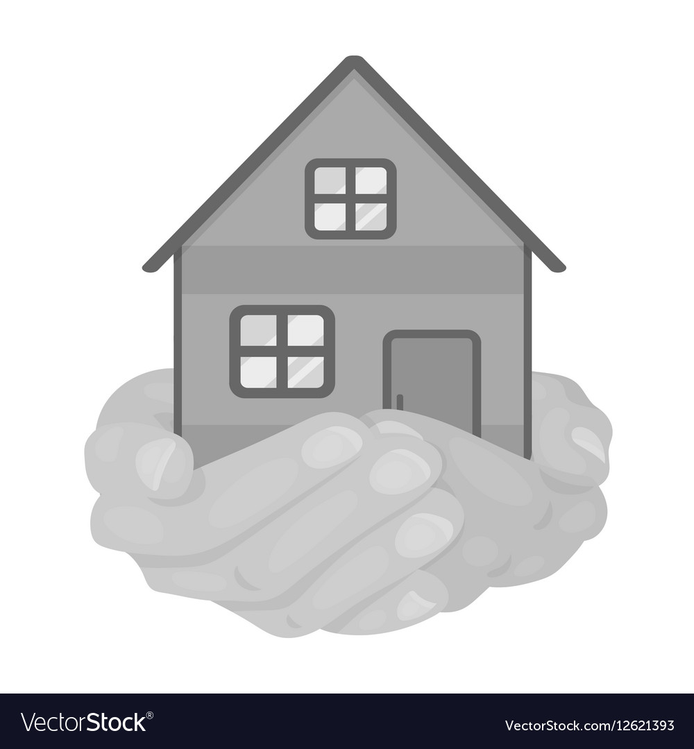 Property donation icon in monochrome style