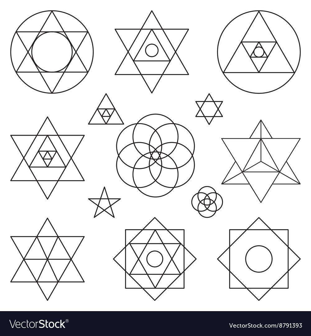 Sacred geometry symbols elementsBlack outline