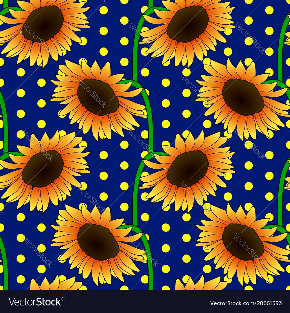Seamless floral pattern with orange sunflower vector image