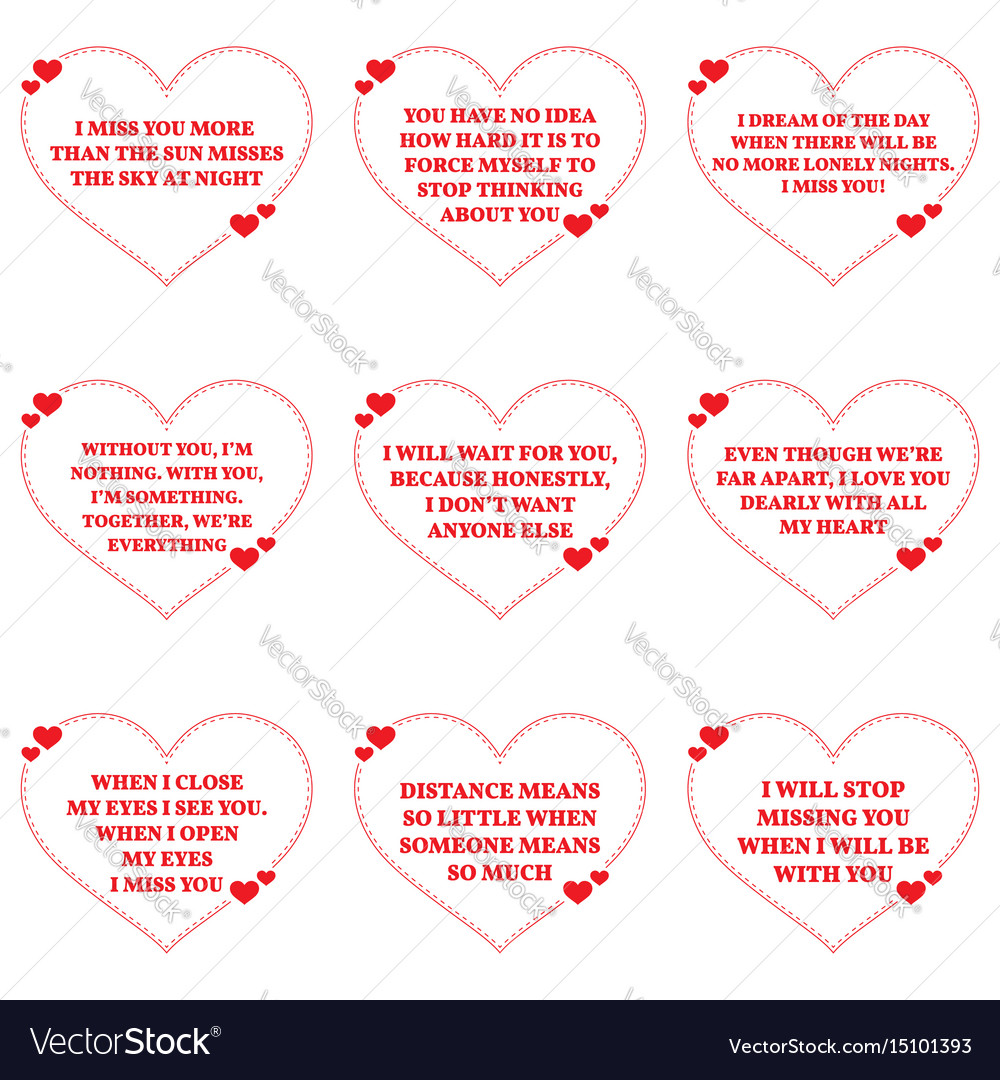 Set Of Quotes About Missing Love Over White Vector Image