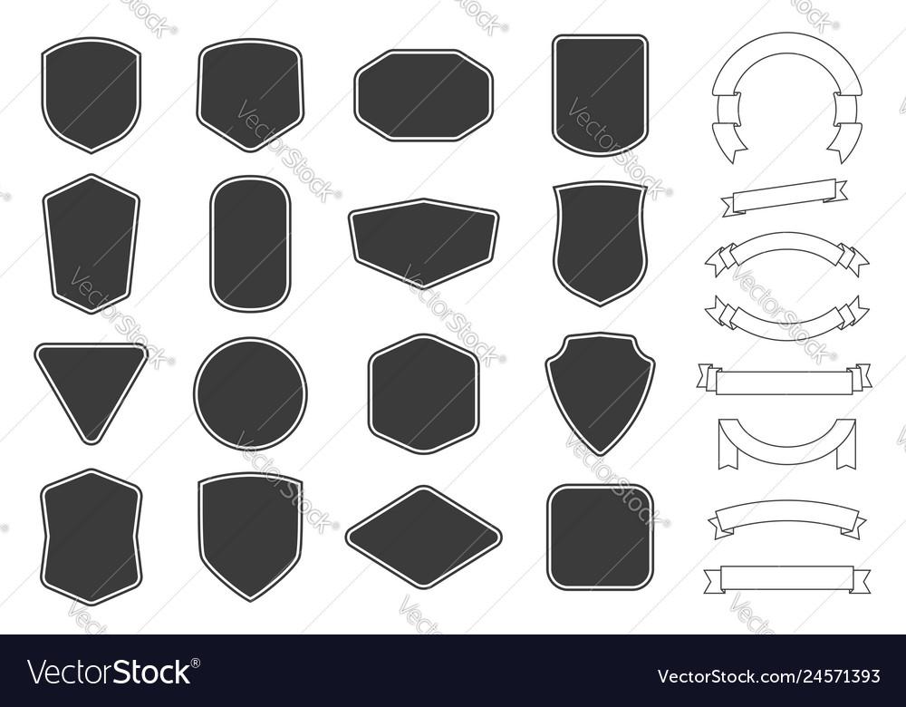 Set of vitage label badges shape and ribbon baner
