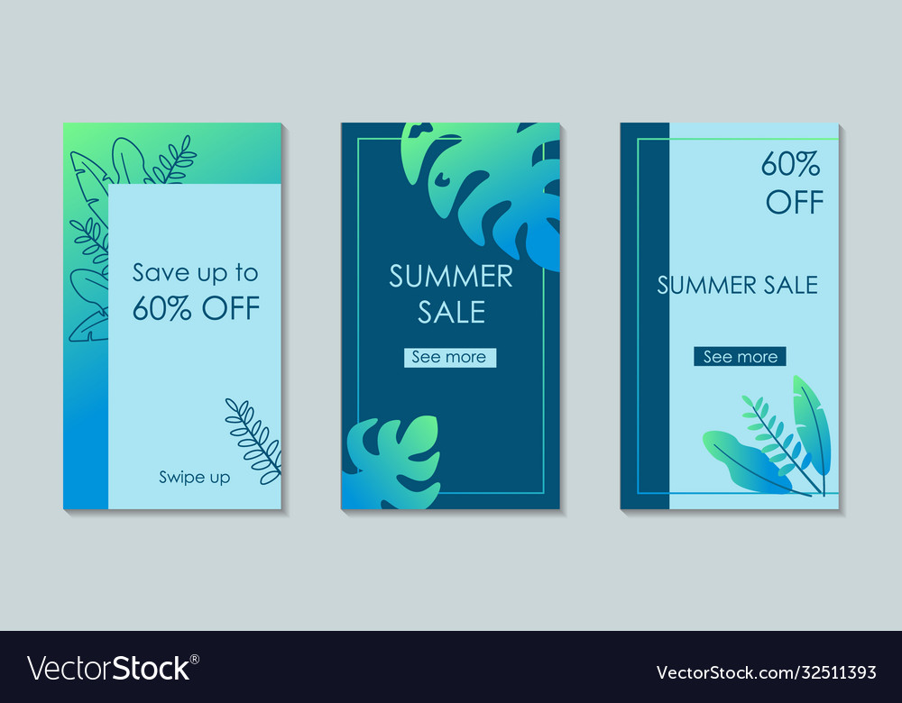 Set summer instagram story with leaves for sale