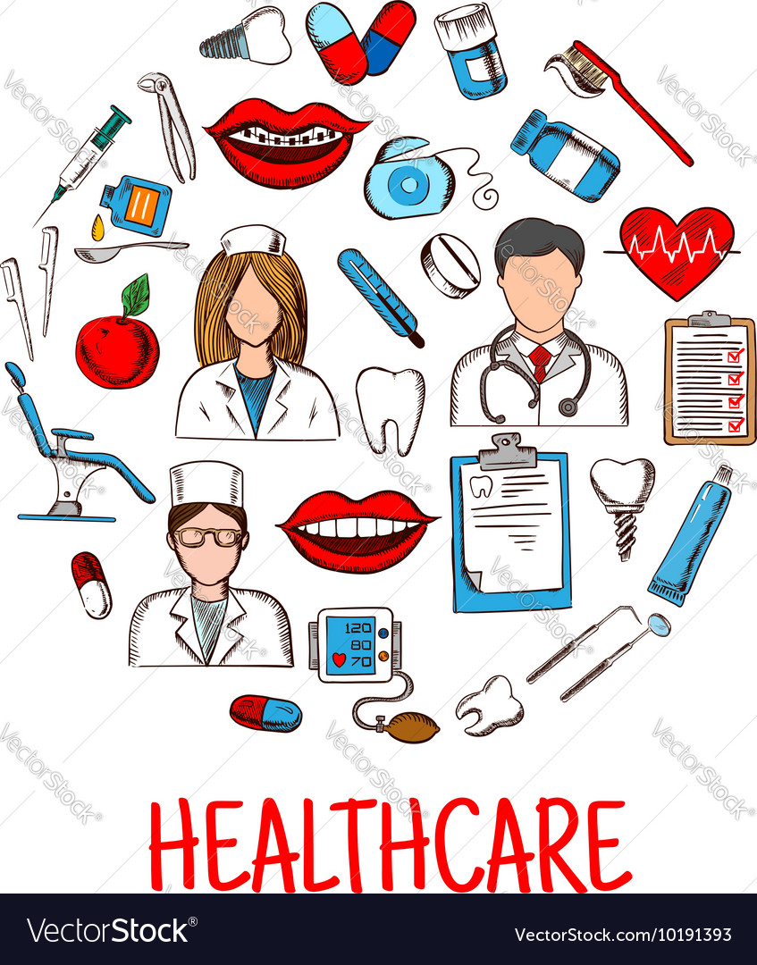 Sketches of healthcare symbols in a circle shape vector image