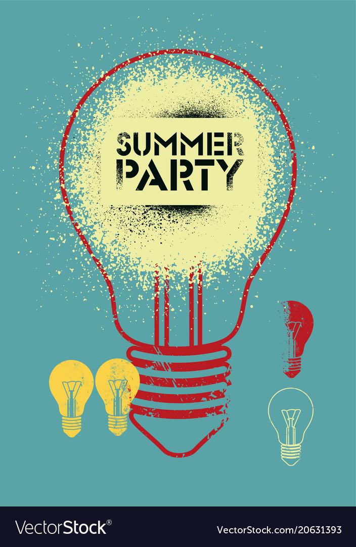 Summer party vintage grunge poster design