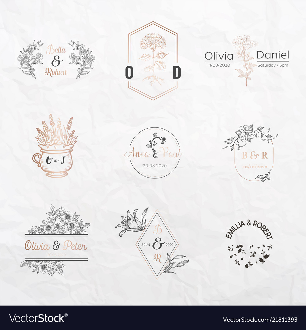 Wedding monogram constructor invitation cards