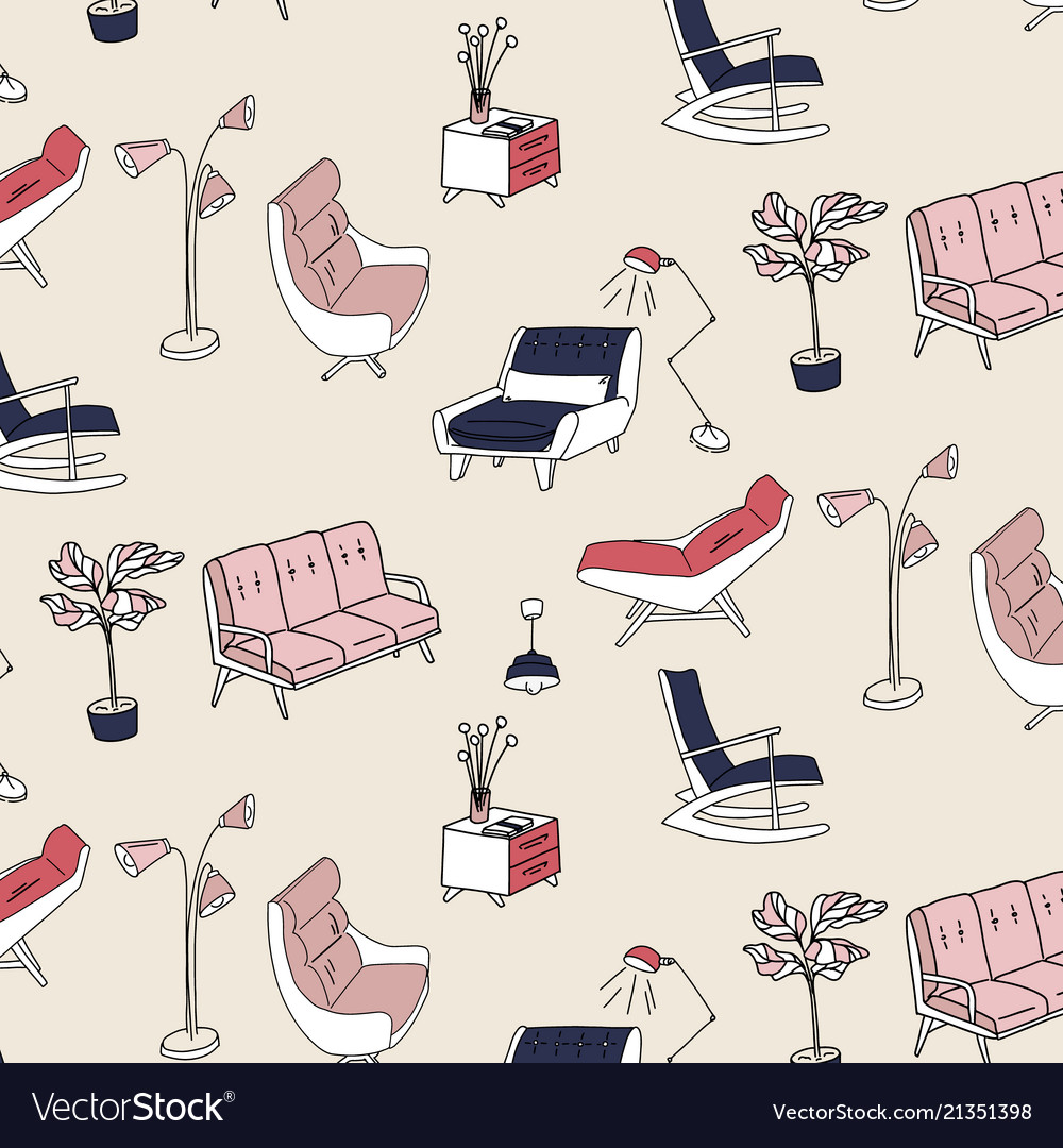 60s style furniture interior pattern cute pastel