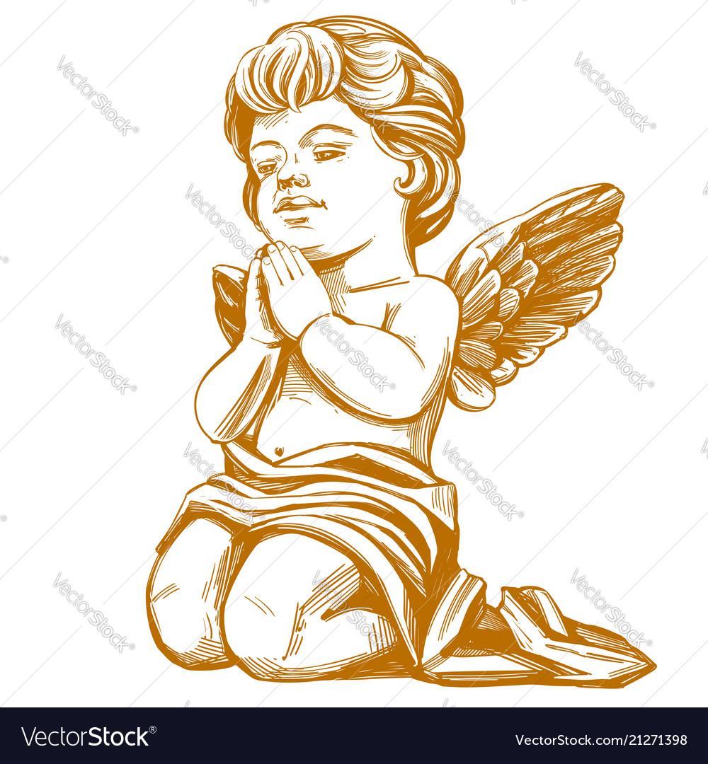 Angel prays on his knees hand drawn