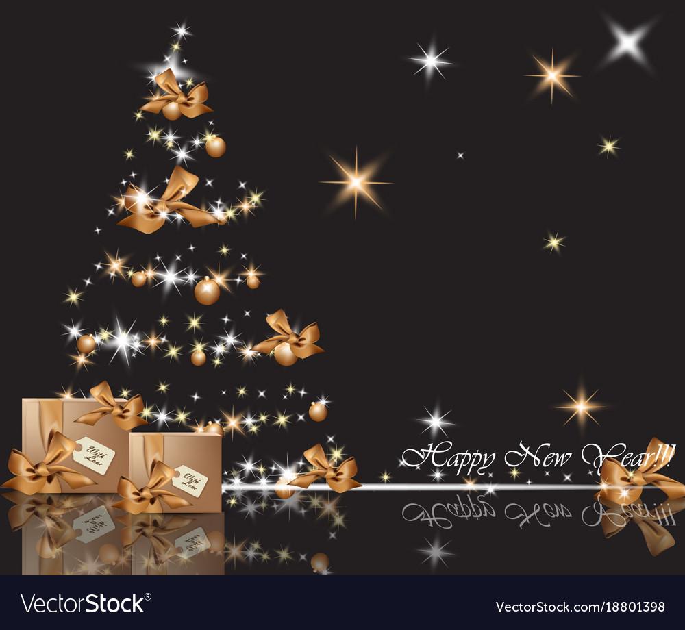 Beautiful Gold Christmas Tree On Shiny Background