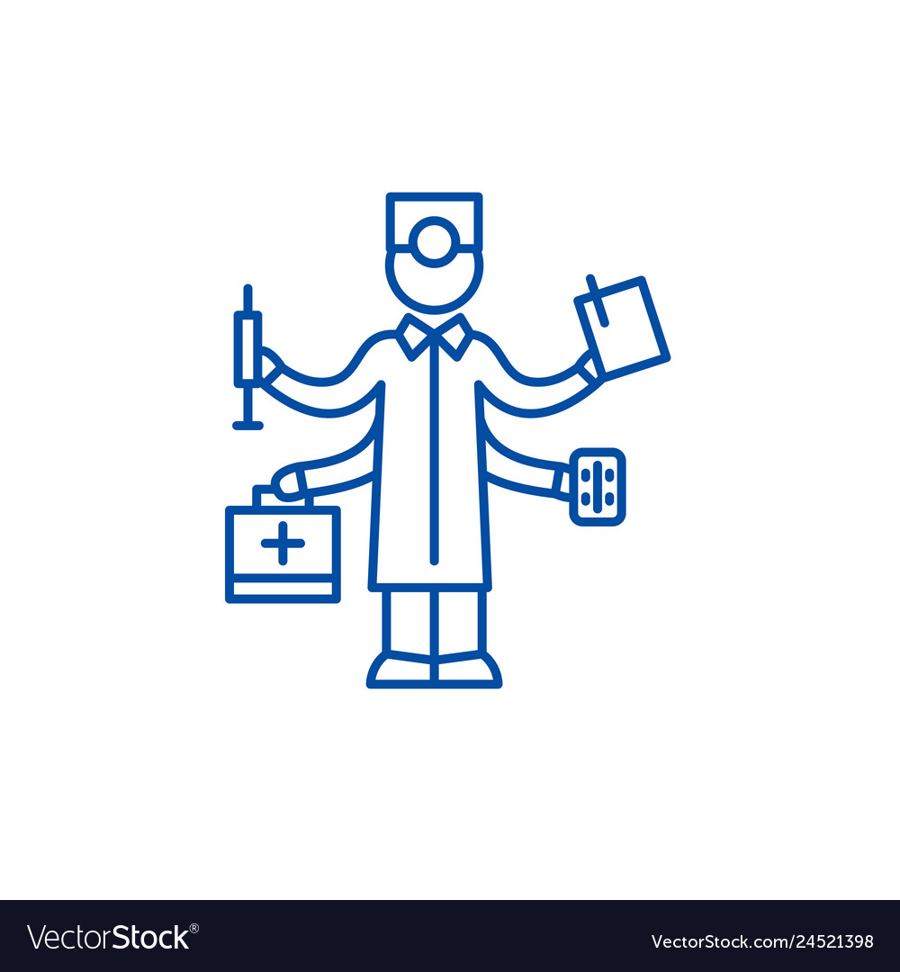 Best doctor line icon concept best doctor flat