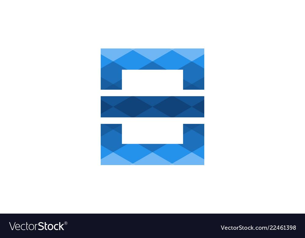 Blue letter e modern logo design inspiration
