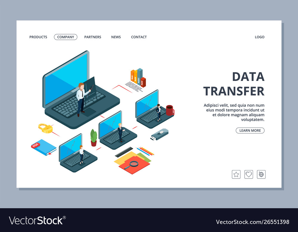 Data transfer landing page isometric information