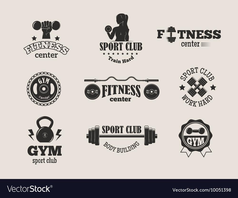Gym Fitness Symbols Set Royalty Free Vector Image