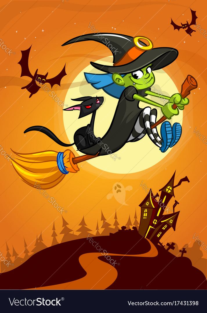 Halloween with cute witch flying on her broom on