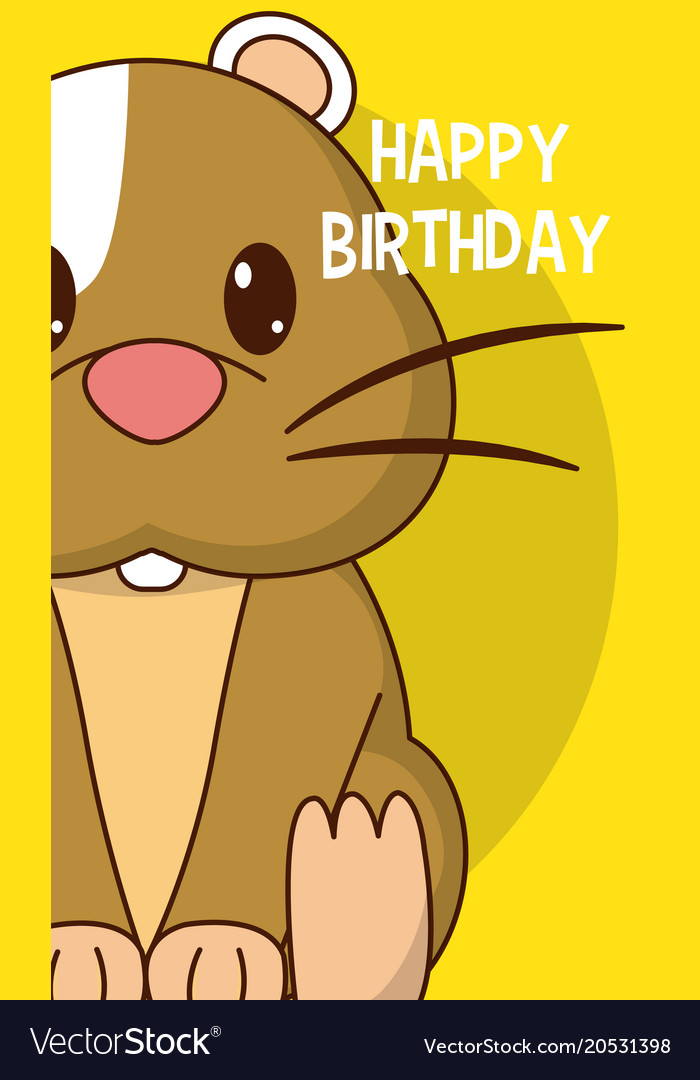 Hamster Cute Birthday Card Royalty Free Vector Image