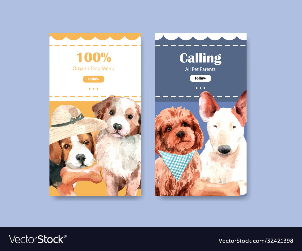 Instagram template with dogs design for social