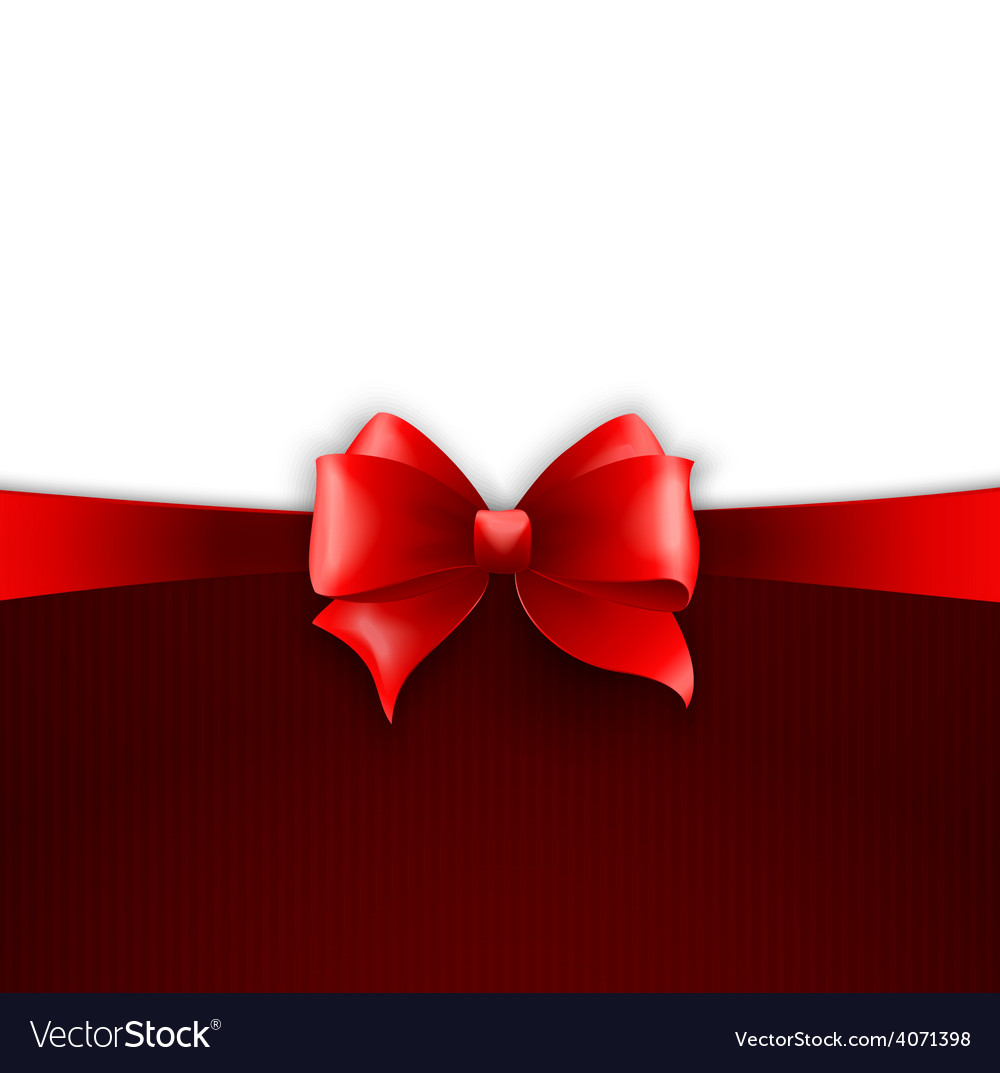 Invitation card with red holiday ribbon and bow vector image stopboris