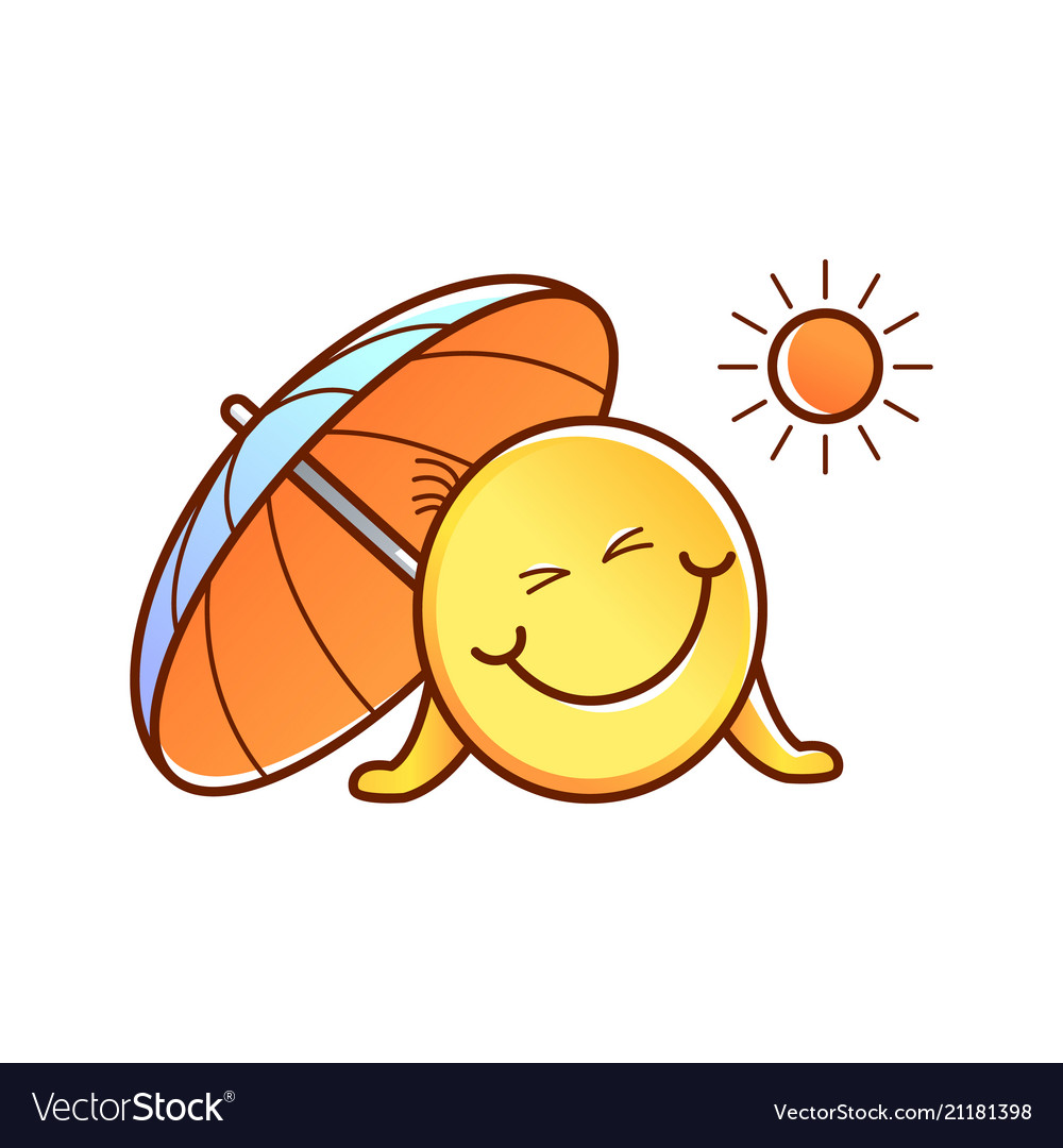 Male Smiley Face Emoticon Sun Umbrella Royalty Free Vector