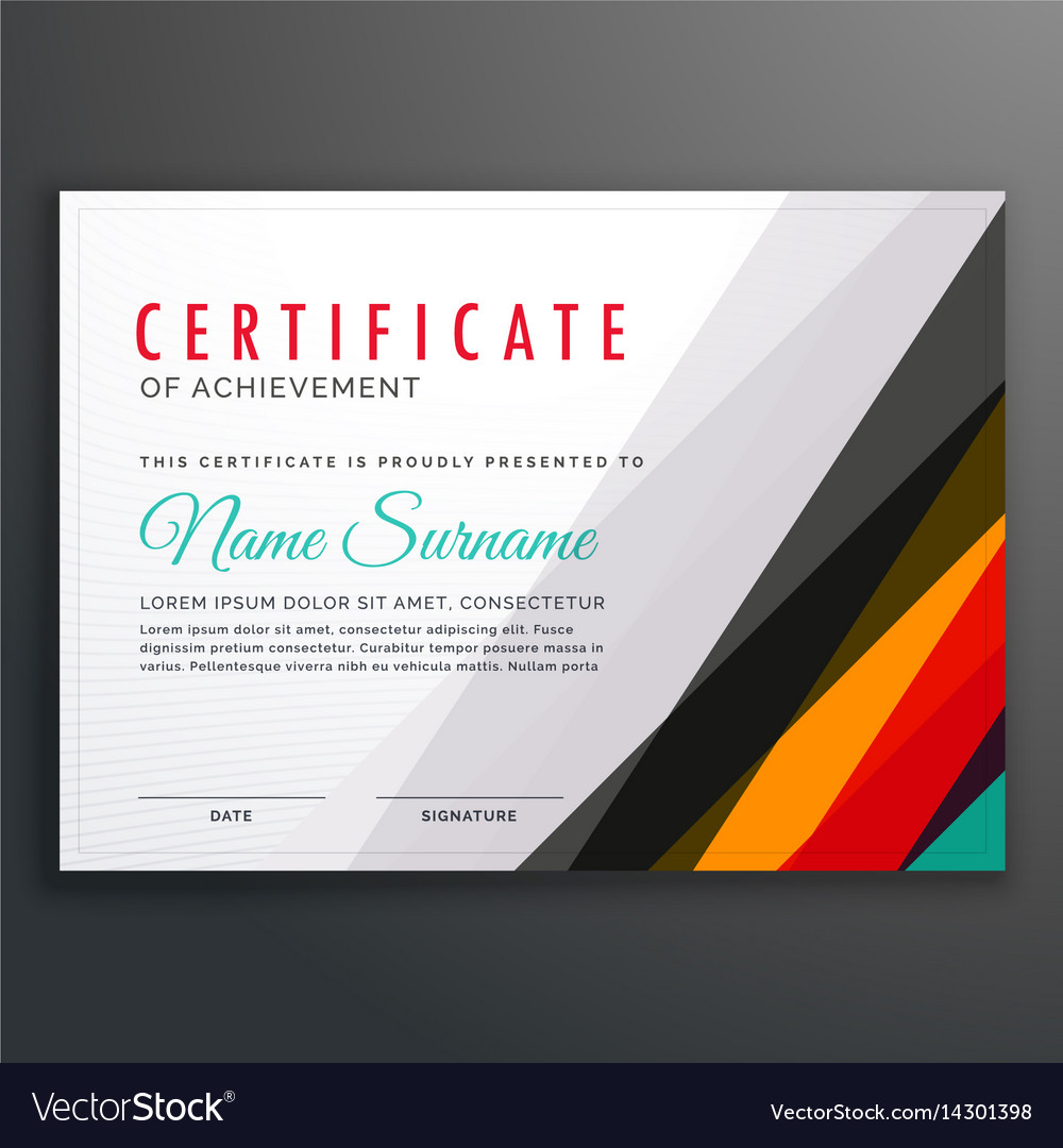 Modern certificate design template with colorful vector image altavistaventures Image collections