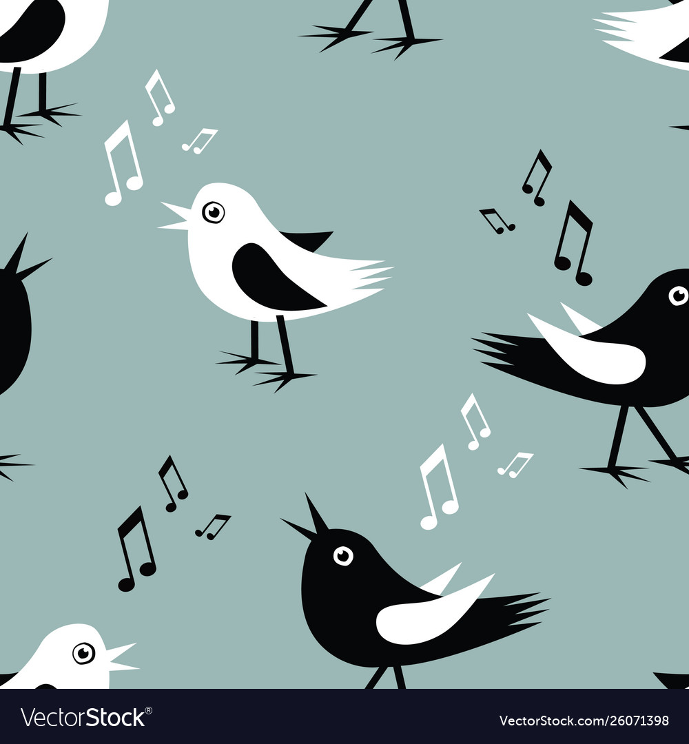 Seamless background funny singing birds