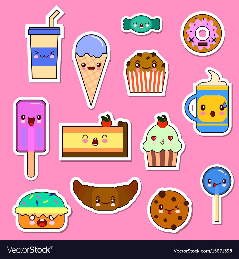 Set of kawaii food characters sweets and